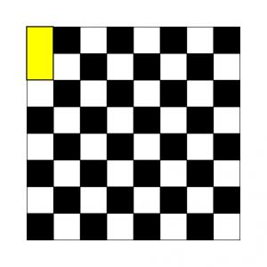 8×8マスのチェス盤に、1×2のドミノを置いてみる