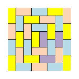 隣り合うドミノが同じ色にならないように塗り分けた例