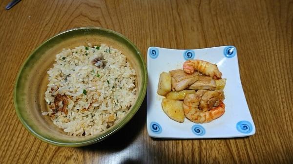 とり炒め物とグレご飯