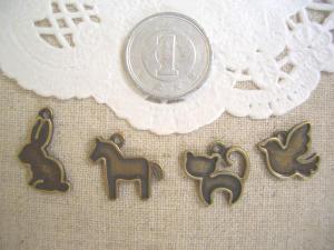 ミール皿:小さな動物4種