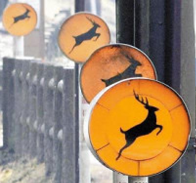 鹿の交通事故を防ぐために設置された標識1