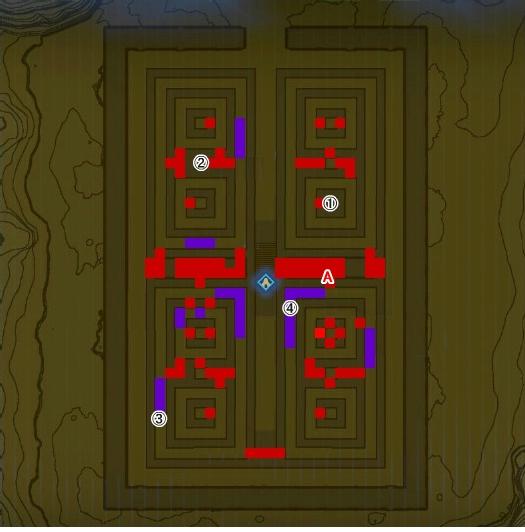 【ゼルダの伝説 ブレスオブザワイルド】南ローメイ城跡 迷路のマップ詳細 地図 『ディラ・マの祠』の行き方 ほこらチャレンジ「砂漠の試練」