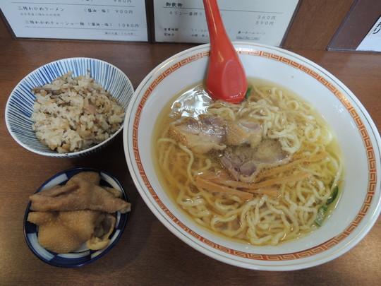 中華そば+Aセット(鶏飯)+鶏皮