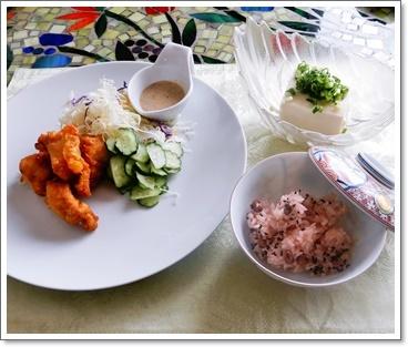 赤飯&鶏のから揚げ