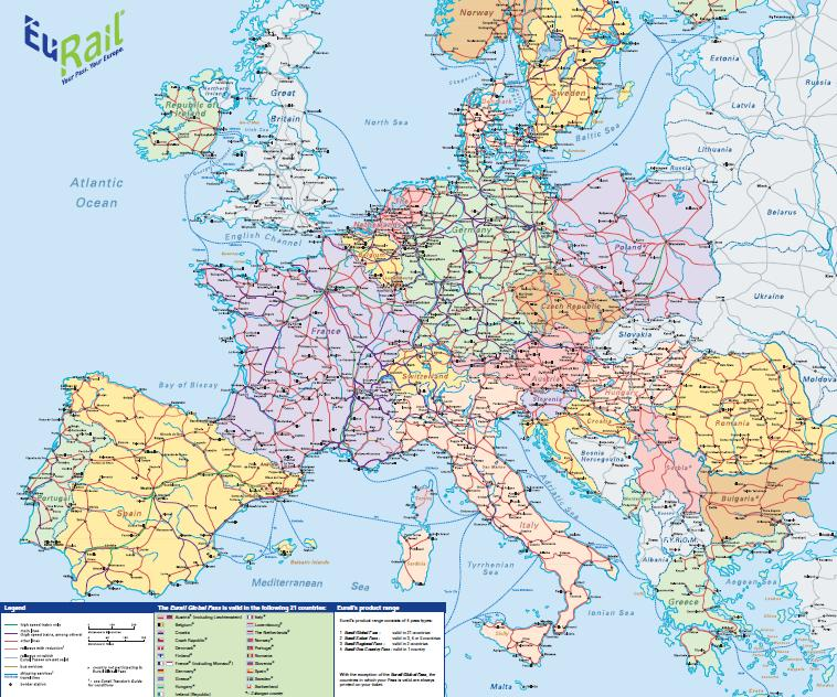 ユーレイル地図