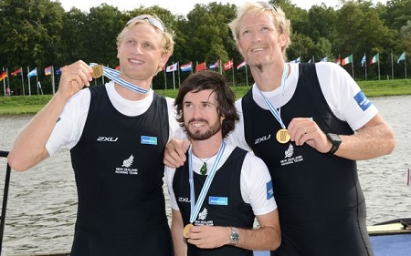 eight_col_Hamish_Bond__cox_Caleb_Shepherd_and_Eric_Murray_with_gold_at_WRCs_Amsterdam_2014_1610 radionz co nz