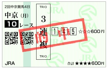 【的中馬券】170320中京10R(三連複 万馬券 的中)