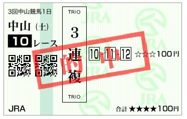 【的中馬券】170325中山10R(三連複 万馬券 的中)