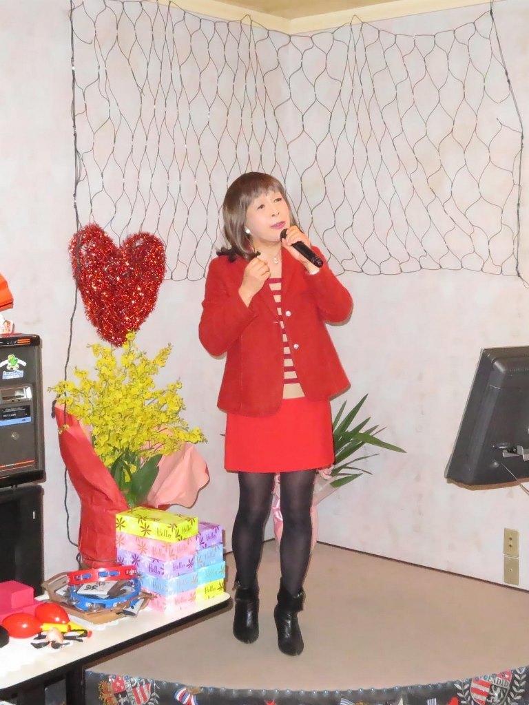 赤ボーダーセーター赤ミニスカカラオケ(3)