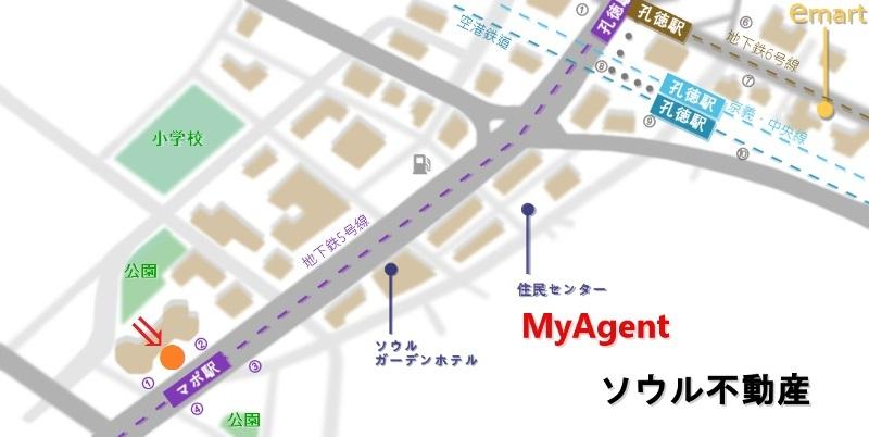 韓国 マポ Bops&Pops 地図