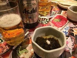 アサヒスーパードライ中瓶&本日の小鉢(お通し)