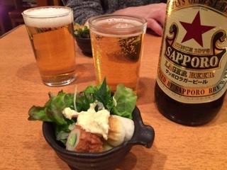 お通しと瓶ビール(サッポロ大瓶)