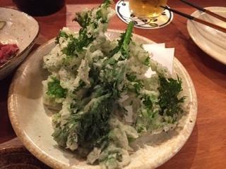 ミニ春菊とわさび菜の天麩羅