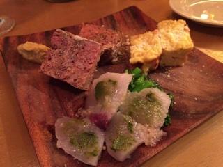 前菜3品 (パテカン・フリッタータ・魚のマリネ)