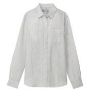 フレンチリネン洗いざらしストライプシャツ 婦人 白