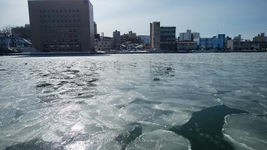 幣舞橋のふもとの川を氷が流れる