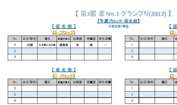 グランプリ(2017)・仮名部