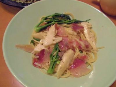 4.21山菜とパンチェッタのパスタ