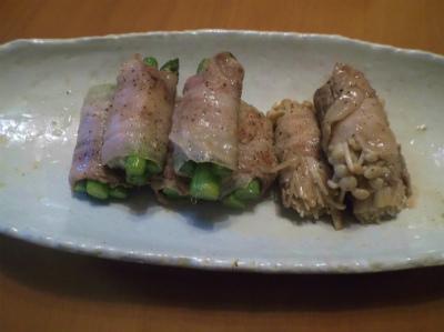 4.22アスパラとエノキの肉蒔き