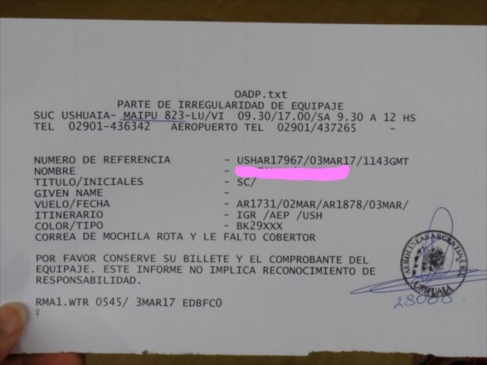 アルゼンチン航空レシート