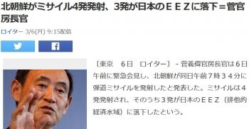 news北朝鮮がミサイル4発発射、3発が日本のEEZに落下=菅官房長官
