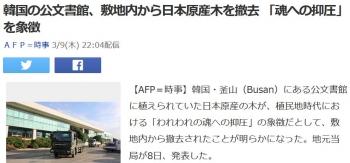 news韓国の公文書館、敷地内から日本原産木を撤去 「魂への抑圧」を象徴