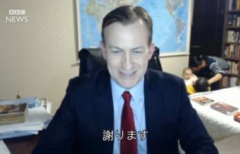news韓国情勢の専門家インタビュー 最中にお子さん乱入4