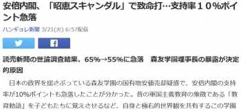 news安倍内閣、「昭恵スキャンダル」で致命打…支持率10%ポイント急落