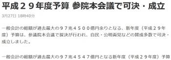 news平成29年度予算 参院本会議で可決・成立