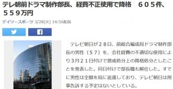 newsテレ朝前ドラマ制作部長、経費不正使用で降格 605件、559万円