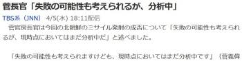 news菅長官「失敗の可能性も考えられるが、分析中」