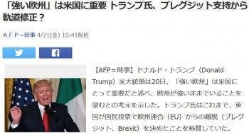 news「強い欧州」は米国に重要 トランプ氏、ブレグジット支持から軌道修正?
