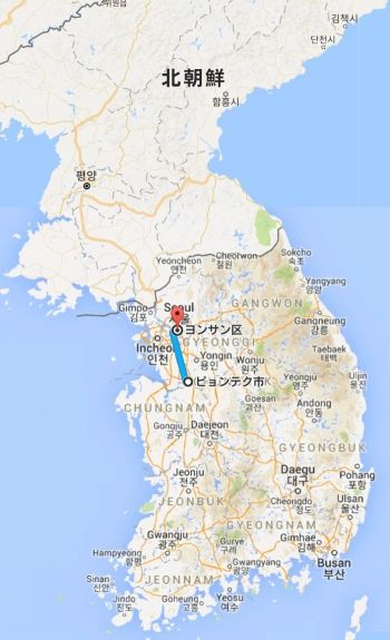mapピョンテク市 から ヨンサン区