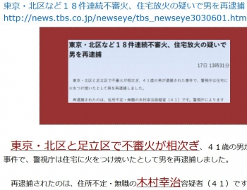 ten東京・北区など18件連続不審火、住宅放火の疑いで男を再逮捕