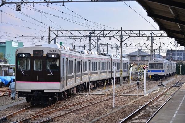 2017年3月30日 福島交通飯坂線 桜水 1000系1109-1313-1210編成/7000系7113-7315-7214編成
