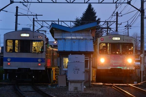 2017年3月30日 福島交通飯坂線 笹谷 7000系7113-7315-7214編成/7101-7202編成