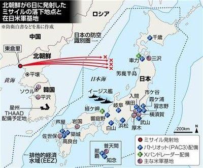 北朝鮮6日弾道ミサイル落下地点図