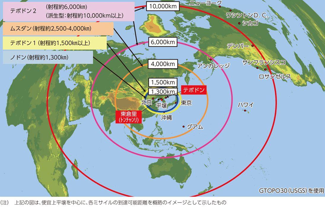 北朝鮮弾道ミサイルと到達距離図