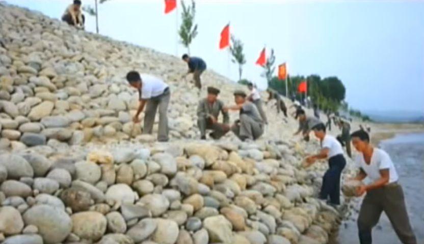 北鮮 堤防工事