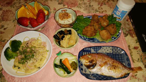 晩御飯 鯛・筍昆布煮物 パスタ・唐揚げ