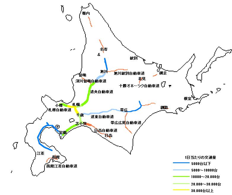 北海道の高速道路(交通量)