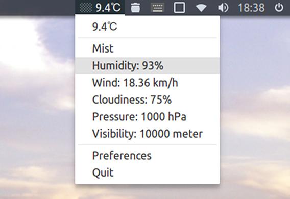 UbuntuIndicatorWeather v0.9 天気 パネルメニュー