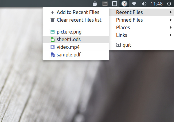 files-indicator Ubuntu 最近開いたファイル