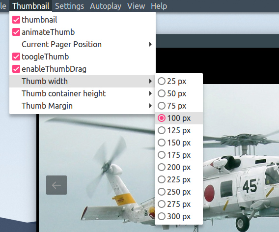 lightGallery Ubuntu 画像ビューア サムネイルのカスタマイズ