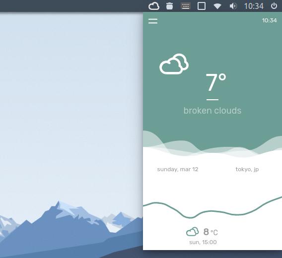 temps Ubuntu 天気アプリ ショートカットキー