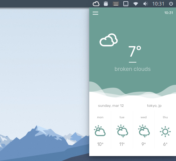 temps Ubuntu 天気アプリ
