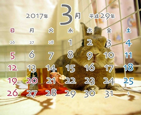 2017年3月卓上カレンダー