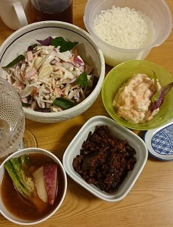 ゴボウサラダ、カツオ佃煮、明太とろろ