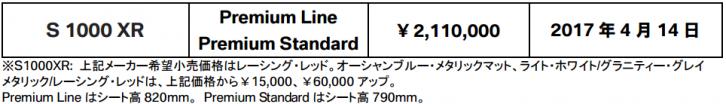 2017 S1000XR PRICE