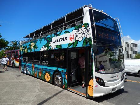 ハワイ2016.10ホノルル・2階建てバス